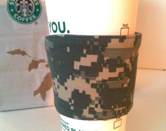 Army ACU Fabric Coffee Cozy Two Buttons Soldier Washable Grey Camouflage Military Wife Reusable Eco Friendly Gifts for Her Him
