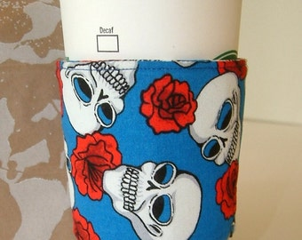 Coffee or Death Coffee Cozy Skulls with Red Roses Improved Fit with Two Buttons