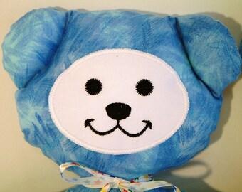 Light Blue Teddy Bear Stuffie Softie Light Blue Boy Girl Baby Shower Gift Toddler Cotton Embroidery