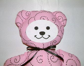 Pretty in Pink and Black Teddy Bear Polka Dots Girl Baby Washable Cotton Toddler Shower Gift Valentine's Day Cute