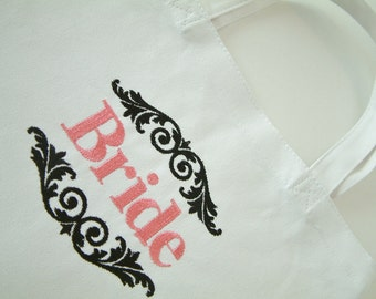 Bride Embroidered Tote Black and Pink
