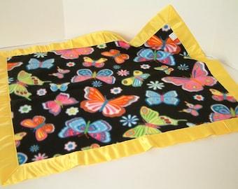 Bright Butterflies Fleece Baby Blanket with Yellow Binding