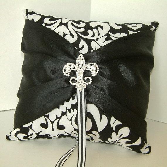 Back & White Fleur de Lis Ring Pillow