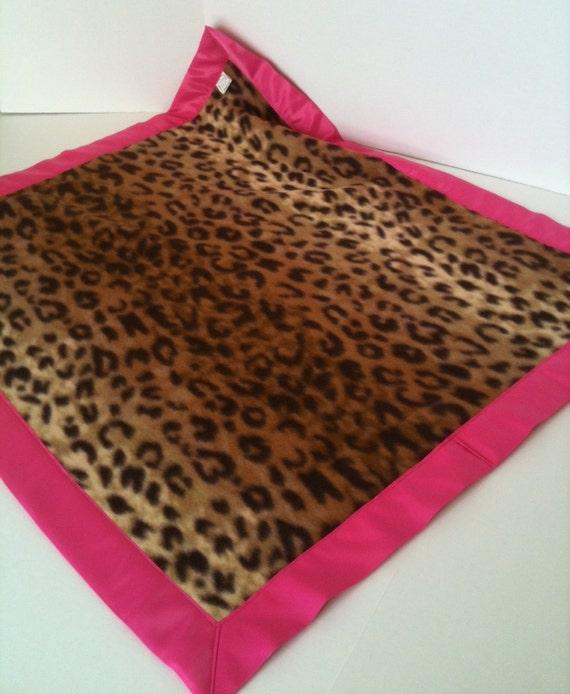 Leopard Fleece Baby Blanket With Hot Pink Binding