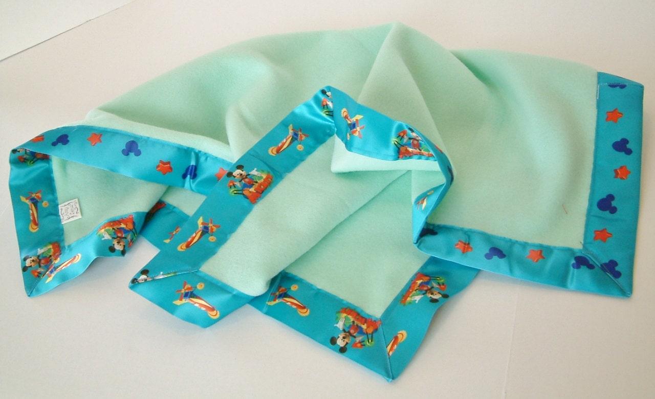 Mickey Mouse Light Blue Fleece Baby Blanket Ooak