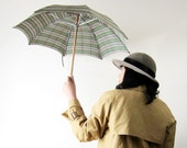 RESERVED - 1940s Green Plaid Horse Head Umbrella