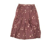 1970s Dusty Rose Pleated Midi Skirt Size Small to Medium