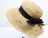 Vintage Beige Straw Hat with Black Bow Tie