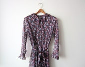 SALE - 1970s Floral Sheer Midi Dress Size Small to Medium