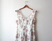 Vintage Button Down Roses Day Dress Size Large