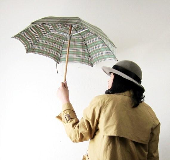 RESERVED - 1940s Green Plaid Horse Head Umbrella