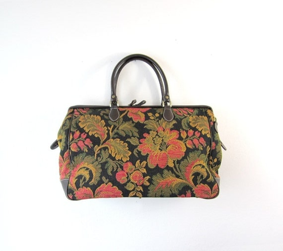 SALE - 1990s Tapestry Carry On Weekender Bag