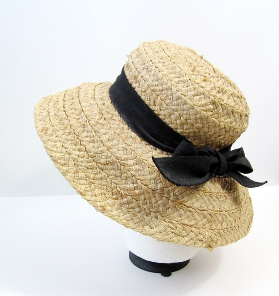 Vintage Beige Straw Hat with Black Bow Tie