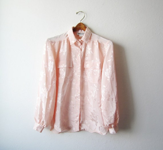 1970s Sheer Peach Roses Blouse Size Small to Medium