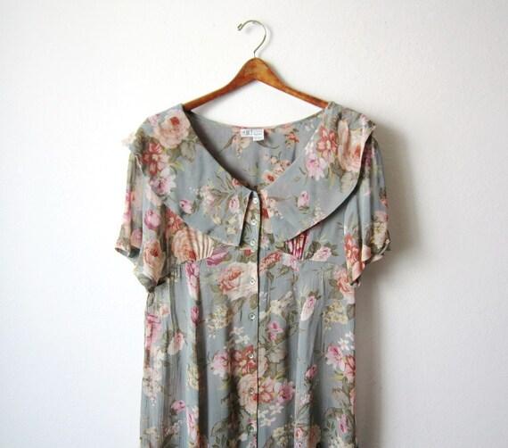 Vintage Sheer Roses Peter Pan Collar Dress Size Medium