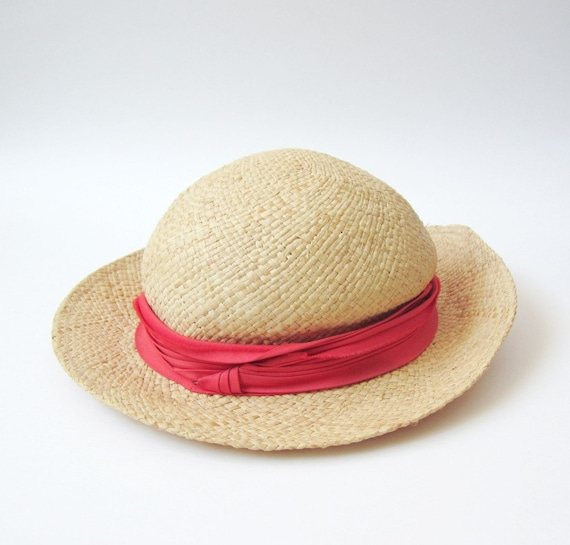 Vintage Neutral Straw Hat with Bubblegum Ribbon