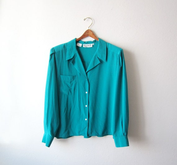Vintage CHAUS Teal Sheer Blouse Size Large