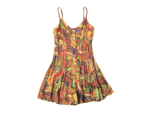 Vintage Orange Camisole Playsuit Size Extra Small to Small