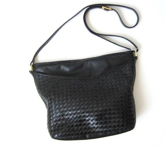 Vintage Black Woven Cross Body Tote Bag