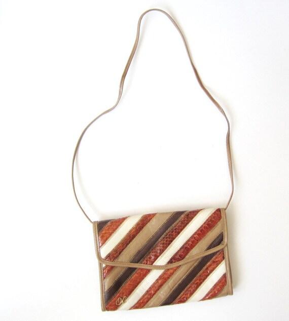 1970s Oleg Cassini Mocha Striped Clutch Bag