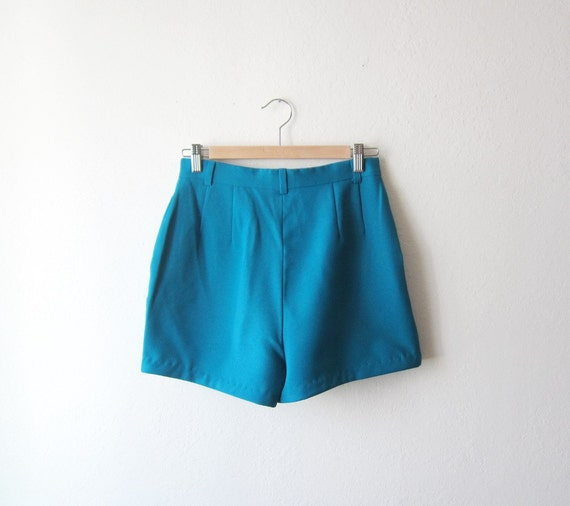 1970s Teal High Waist Shorts Size Small to Medium
