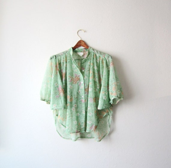 1970s Sheer See Through Floral Blouse Size Medium
