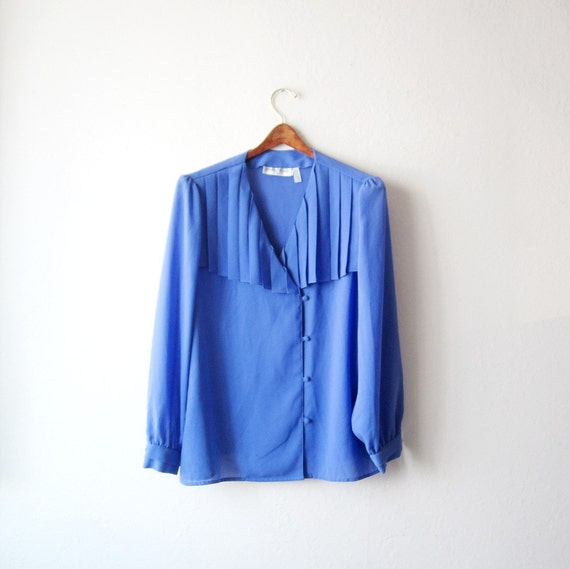 SALE - 1980s Pleated Collar Sheer Blouse Size Large