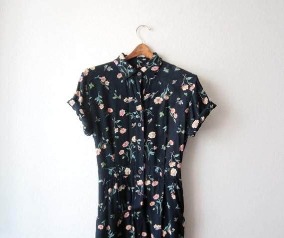 1990s Floral Romper Playsuit Size Small to Medium