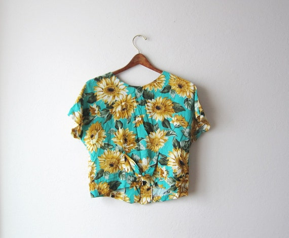 1990s Sunflower Cropped Blouse Size Small