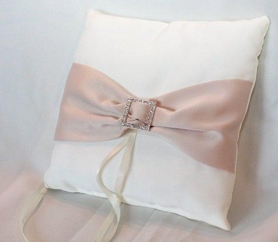 Ivory Satin Ring Bearer Pillow with Champagne Satin Sash