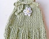 Hand Embroidered / Hand Knit Fiber Art Soap Holder - In Spring GREEN - Daisy Design