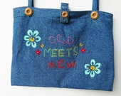 The Old-Meets-New Denim Tote / Hand Painted / Hand Embroidered - Eco Friendly / ON SALE NOW