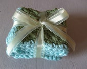 Blue-Olive Green Mini Spa Washcloth Set LUXE COLLECTION