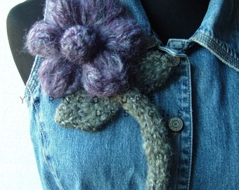 The OVERSIZED Floral Brooch - In Purple