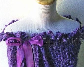 The Victorian Lace Capelet / In Eggplant / LARGER SIZED / Easy Care