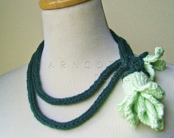 Corn ROSE Lariat - In Mint Green / Floral Art Scarf