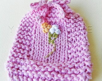Embroidered / Hand Knit Fiber Art Soap Holder - Pink Floral Design