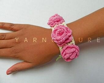 The Victorian Crochet Rose Bracelet - w/ Vintage Pearl Buttons