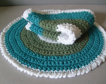 Crochet Placemats - Set Of 2 - All Cotton