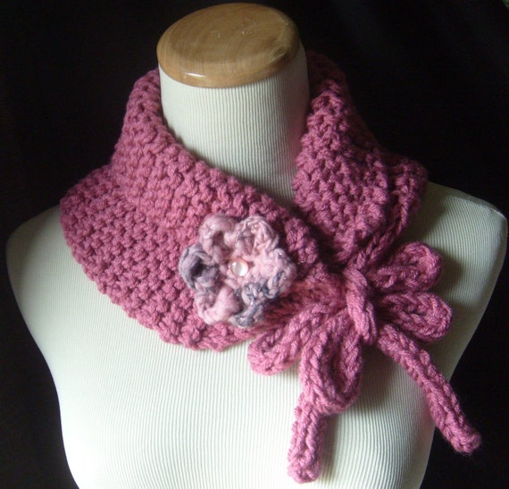 Little Pinky - Knit Cowl/Neckwarmer With Brooch - Soft And Snuggly  - In Dusty PINK / On Sale