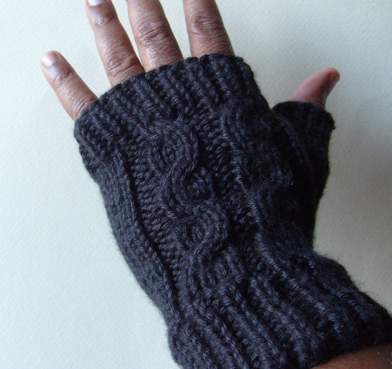 Thick and WARM Cabled Fingerless Gloves For Men In Black OR Choose Your Color!