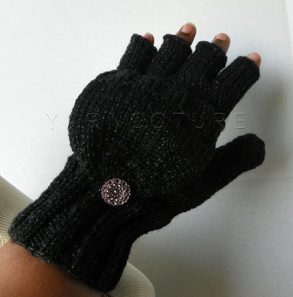 Convertible Glam Mitts - In Black