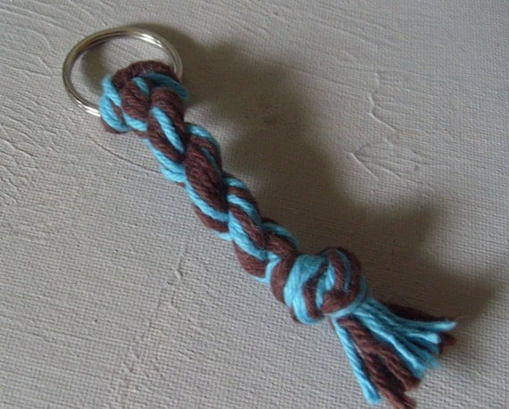 Made By My Daughters\/Summertime Keychain - Shades Of Turquoise and Brown