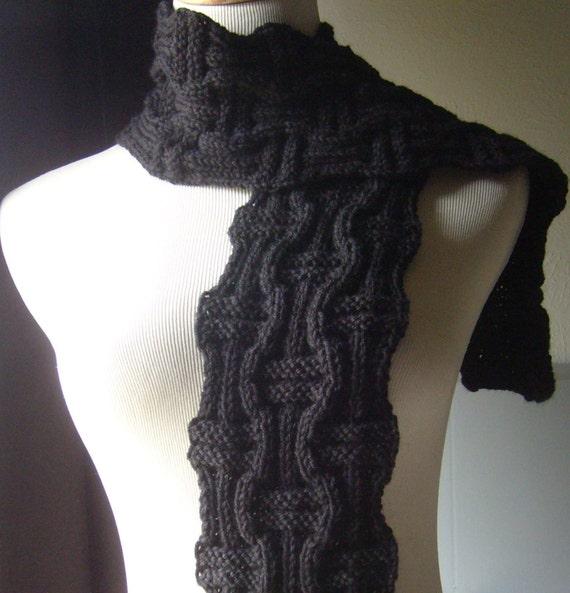 The Basketweave Knit Scarf UNISEX-Coal Black/Jet Black / Reserved For Jaime Clark