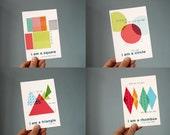 I am a shape postcards - set of 4