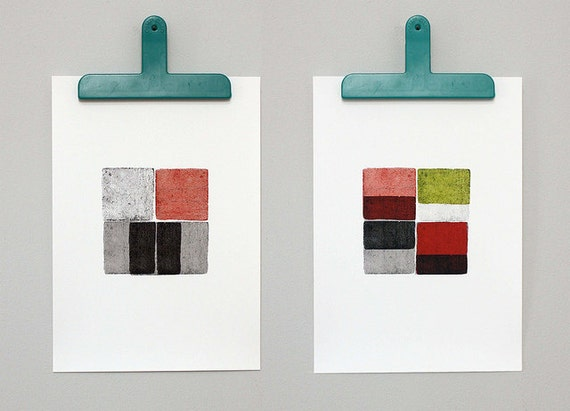 Four Blocks 1 and 2 - set of two prints