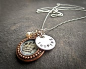 Be INSPIRED... Copper Music Photo Pendant with Sterling Silver Charm