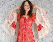 SALE Vintage GUNNE SAX huge bell sleeve midi dress paisley floral boho hippie