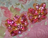 WEISS Signed Vintage Pink Rhinestone Earrings