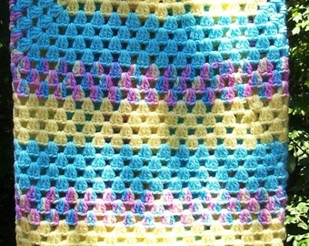 Crochet Baby Blanket Baby Afghan Turquoise Blue Yellow Pink Striped Granny Square Baby Blanket Baby Shower Gift Baby Girl Modern Crochet